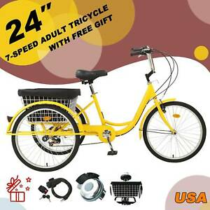 """24"""" 7 Speed Adult Trike Tricycle 3-Wheel Bike w/Basket & Gift for Shopping UPS"""