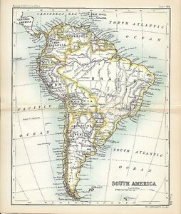 Original 1896 Map South America British Guiana Georgetown Schomburgk