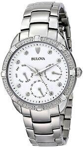 Bulova Women's Quartz Diamond Accent Markers 36mm Bracelet Watch 96R195