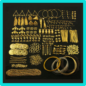 Gold-Findings-Kit-For-Jewellery-Making-amp-Beading-Pins-Clasps-Chain-Crimps-Wire