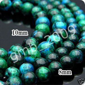 6mm-8mm-10mm-Azurite-Chrysocolla-Round-Gemstones-Loose-Beads-15-034