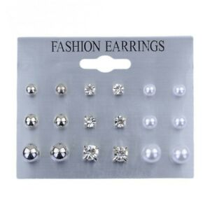 9-Pairs-Stud-Earrings-CZ-Crystal-Pearl-Round-Ball-Set-Stud-Lot-Pair-Ear-Jewelry