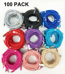 100x Wholesale Lot 10ft Usb Charger Cord Cable For iPhone Android Usb C Type C