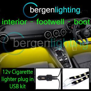 2X-1000MM-YELLOW-USB-12V-LIGHTER-INTERIOR-KIT-12V-DRL-MOOD-LIGHTING-STRIPS