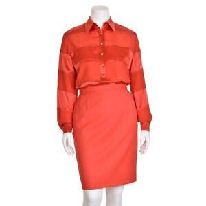 Escada-Margaretha-Ley-700-Red-Coral-Striped-100-Silk-Blouse-Shirt-Top-sz-38-8