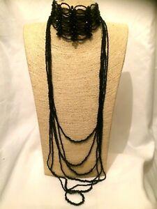 Damen-Statement-Lange-Perlen-Multi-Strang-schwarz-Halsband-Halskette-Gothic-Punk