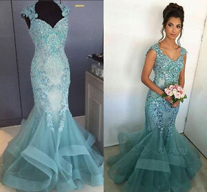 17f3066eba Image is loading Long-Mermaid-Beads-Evening-Prom-Gown-Celebrity-Pageant-