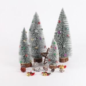 15CM Mini Christmas Tree with LED Lights Ornaments Desk Table Decor Xmas Gift