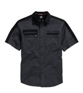 Harley-Davidson-Shoulder-Stripe-Twill-Shirt-Gr-M-Herren-kurzarm-Hemd-grau