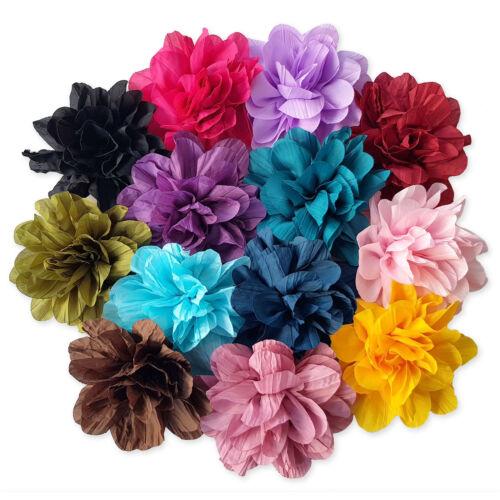 Festival Bridal Bridesmaids 9cm Large Ruffled Flower Hair Clips Bobbles Grips