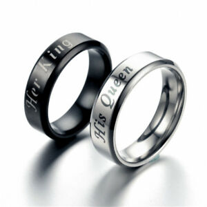 0873cb9781a35 Details about New Crown Love Promise Ring Stainless Steel King And Queen  Couple Rings Jewelry