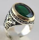 925 Sterling Silver Turkish Handmade Ottoman Design Emerald Men's Luxury Ring