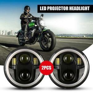 2X-5-3-4-034-5-75-039-039-LED-Headlight-Hi-Lo-for-Harley-Sportster-XL-883-1200-Dyna-Black