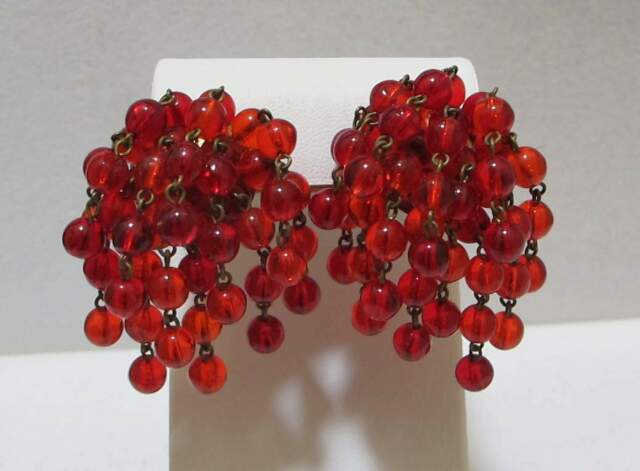 Lush Vtg Red Translucent Bead 12-Strand Waterfall Dangle Cha-Cha Clip Earrings