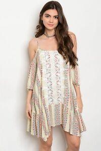 Boho-Cowgirl-Crochet-Floral-Shark-Bite-Hem-Cold-Shoulder-Western-Dress-S-L