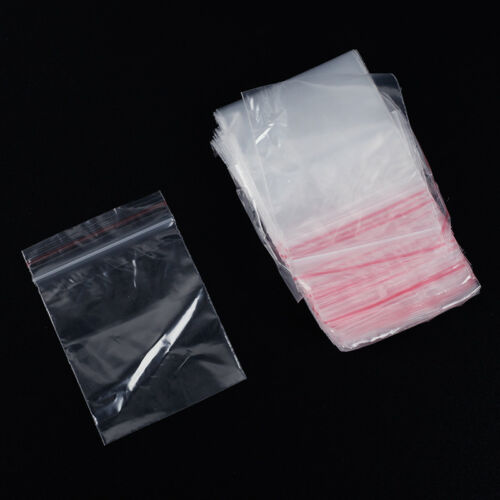 100Pcs Resealable Clear Plastic Seal Press Zip Lock Bags Polythene Ziplock Bag