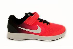 Scarpa-da-bambina-nera-e-rosa-Nike-Revolution-3-PSV-chiusura-in-velcro-sneakers