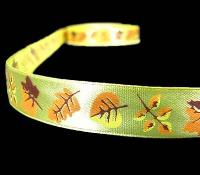 "10 Yards Autumn Fall Leaves Green Acetate Satin Ribbon 1 1//2/""W"