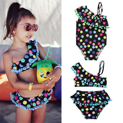 58b8acb419a UK Kid Girls Tankini Swimwear Bikini Set Swimsuit Swimming Costume Bathing  Suit