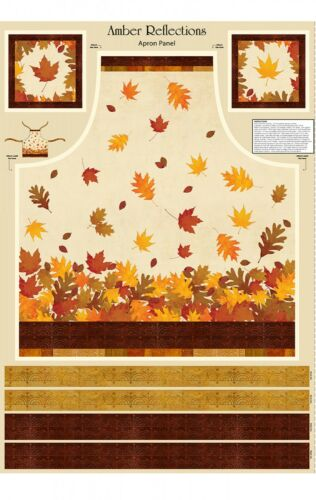 "/""Amber Reflections/"" Apron Panel-Wilmington Prints-Fall Leaves-Thanksgiving"