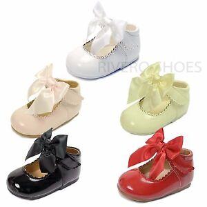 Bebe-Fille-Enfants-Mariage-Bapteme-N-ud-En-Satin-Fete-Chaussures-Vernies-Taille