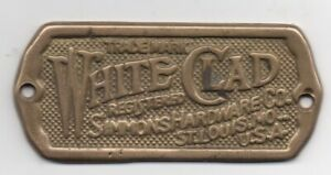 """1920s Brass Advertising Plaque Simmons Hardware Company """" White Clad """""""