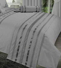 GREY / SILVER RIBBON 200 THREAD COUNT HOTEL QUALITY ELEGANT QUILTED BED RUNNER