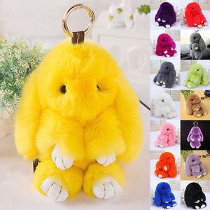 Bunny Rex Rabbit Fur Bag Handbag Keychain Pom Doll Ball Key Chain ... 8a10494af