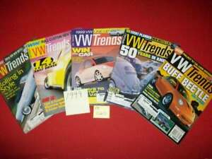 5-VINTAGE-COLLECTIBLE-ISSUES-OF-VW-TRENDS-MAGAZINE-VOLKSWAGEN-BUG-KARMANN-1999