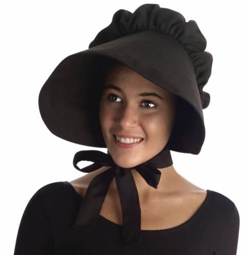 Black Pioneer Femmes Bonnet Chapeau Large Bord Adulte Prairie Accessoires Costume amish