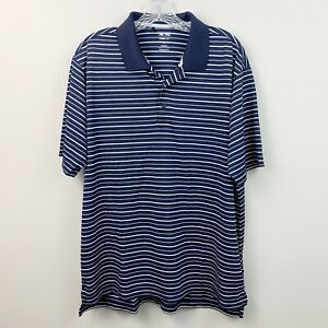 Adidas-Golf-Climalite-Mens-Navy-Blue-Striped-Polo-Shirt-Size-Large