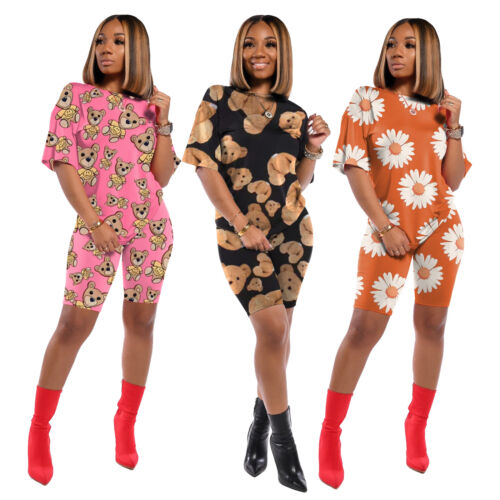 NEW Stylish Women/'s Short Sleeves O Neck  Colorful Print Casual Jumpsuit 2pcs