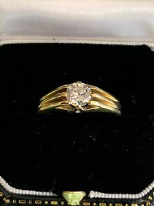 18ct Yellow Gold & 0.60 Diamond Ladys/Gents Solitaire Pinky Ring UK Size R