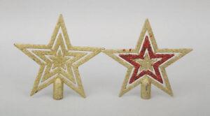 Puntale A Stella Per Albero Di Natale.Puntale Per Albero Di Natale Stella Glitterata Oro Rosso 19x19 Cm Ebay