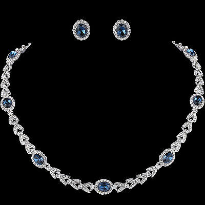 AIMO Olive Leaf Necklace Earrings Set Oval Blue Austrian Crystal High Quality E6