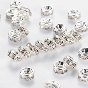 50-500PCS-Rhinestone-Rondelle-Spacer-Beads-Silver-8mm-Crystal-Diamante-MY