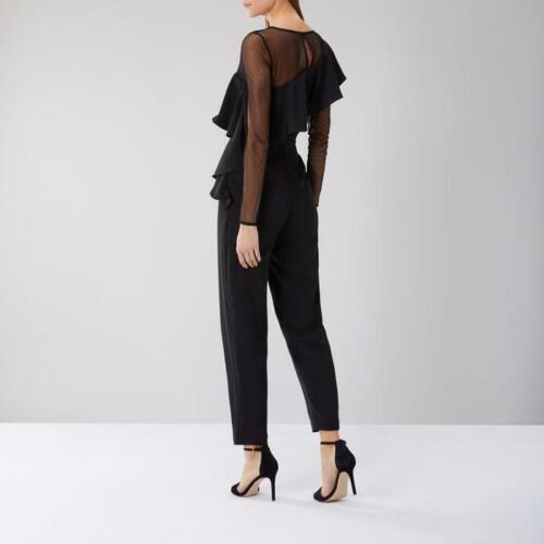 Coast-Olly Frill Detail Mesh Sleeve Jumpsuit-Black-Size 12 0r 14 BNWT