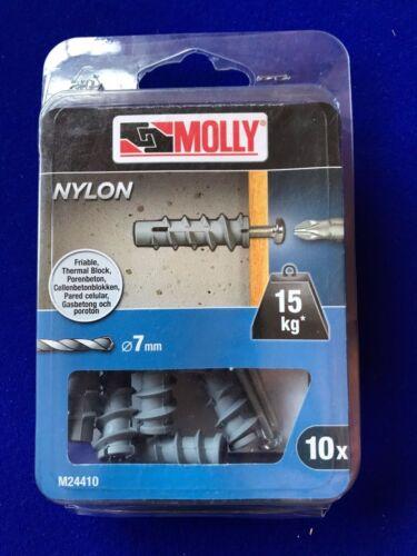 Nouveau Molly b/&d Nylon 10 x Massif Fixation Murale Thermique Bloc 7 mm x 35 M24410-XJ 15 kg