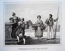 Venedig  Venezia Gondoliere Gondel Italien seltener  alter Stahlstich 1842
