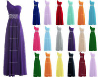 One-Shoulder Prom Dress Chiffon Bridesmaid Formal Evening Party Gown Custom Size