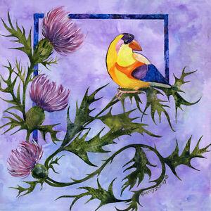YELLOW-BIRD-Original-12x12-Acrylic-Goldfinch-Bird-Painting-by-Sherry-Shipley