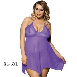 11f625e0095 Women Sexy Plus Size Purple Lace Babydoll Lingerie Gauze Sheer Dress ...
