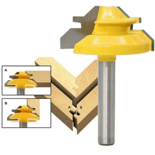 "1Pcs 45 Degree 1//4/"" Shank Lock Miter Router Bit Tungsten Woodworking Cutter Tool"