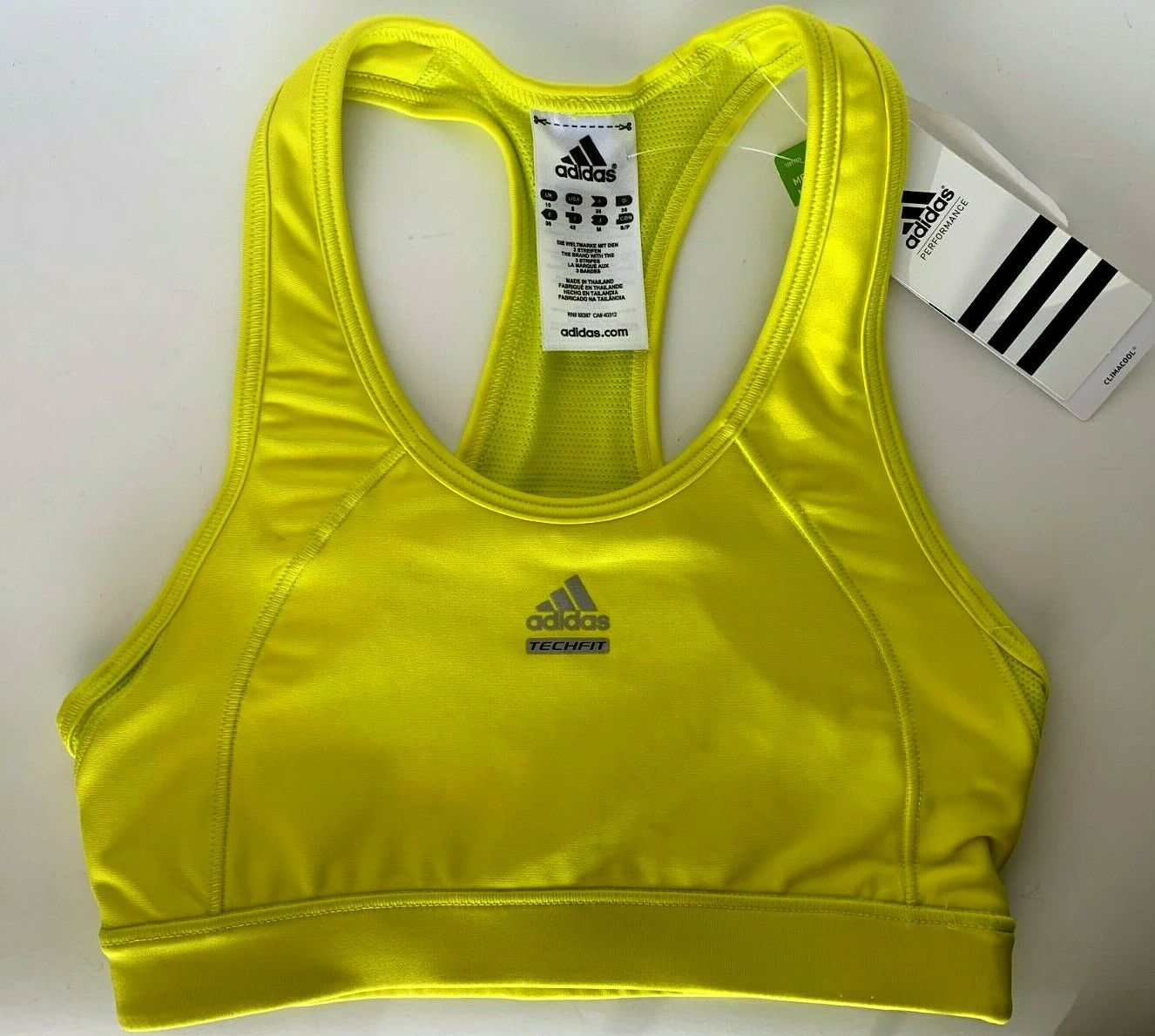 adidas Techfit Sports Bra S Vivid Yellow Med-support 105340664 Fast Ship Df3
