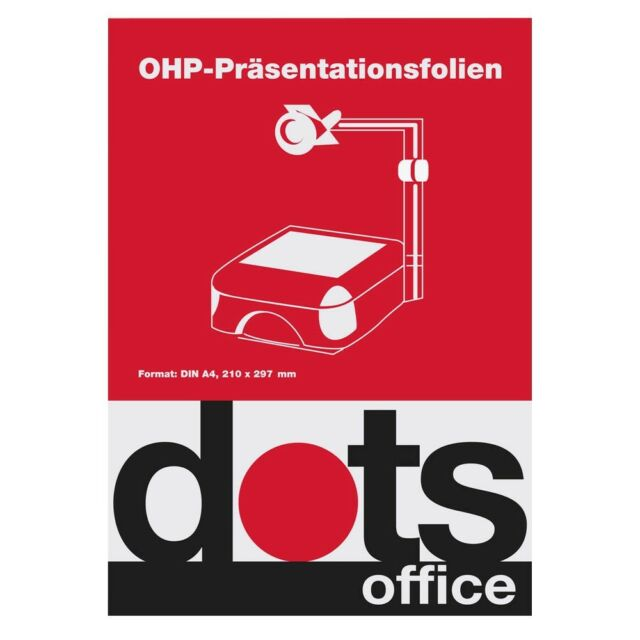 A4 OHP-Präsentationsfolien Folie glasklar 0,1mm 100 Bl dots EAN 4250073716230