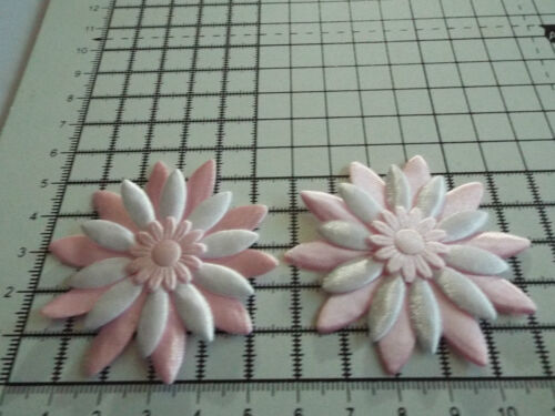 5.5cm 2x Satin Pink//White with Pink Big Appliqu Daisy Motif,Trimmings,Wedding