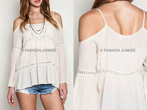 c5dacb537889a OFF WHITE IVORY PEASANT TOP Tunic Cold Shoulder Long Sleeve Bohemian ...