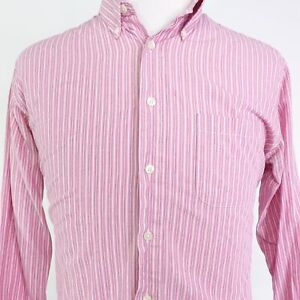 BROOKS BROTHERS 346 SLIM FIT LONG SLEEVE PINK STRIPED BUTTON DOWN SHIRT MENS L