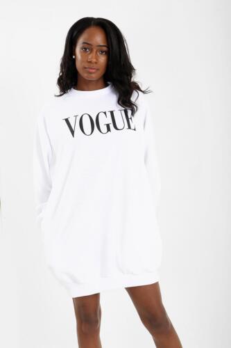 Da Donna Sovradimensionato tasche laterali taglio lungo Vogue Stampa Felpa Tunica Vestito