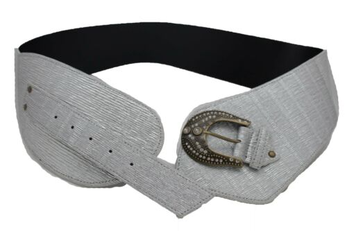 Women Silver Comfortable Western Fashion Wide Belt Faux Leather Plus Size XL XXL
